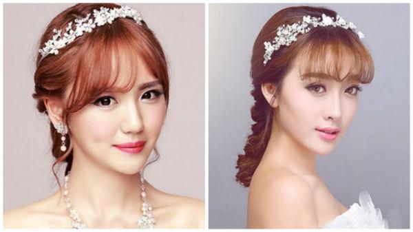 唯美浪漫韩式新娘发型:带刘海款图片