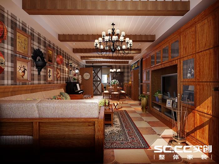 客厅空间以复古美式仿古砖 整体颜色较深显出档次 天花造型碳化木与图片