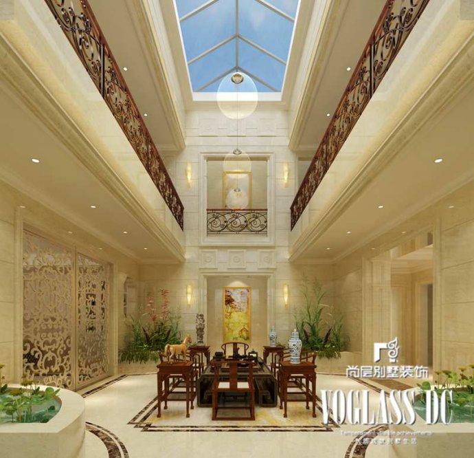 镂空铁艺造型的护栏,别样的照明体验的天井设计