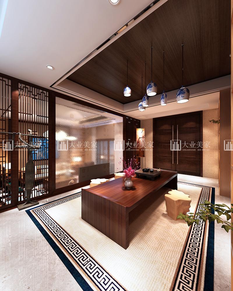 无锡春江花园300平方新中式别墅效果图赏析图片