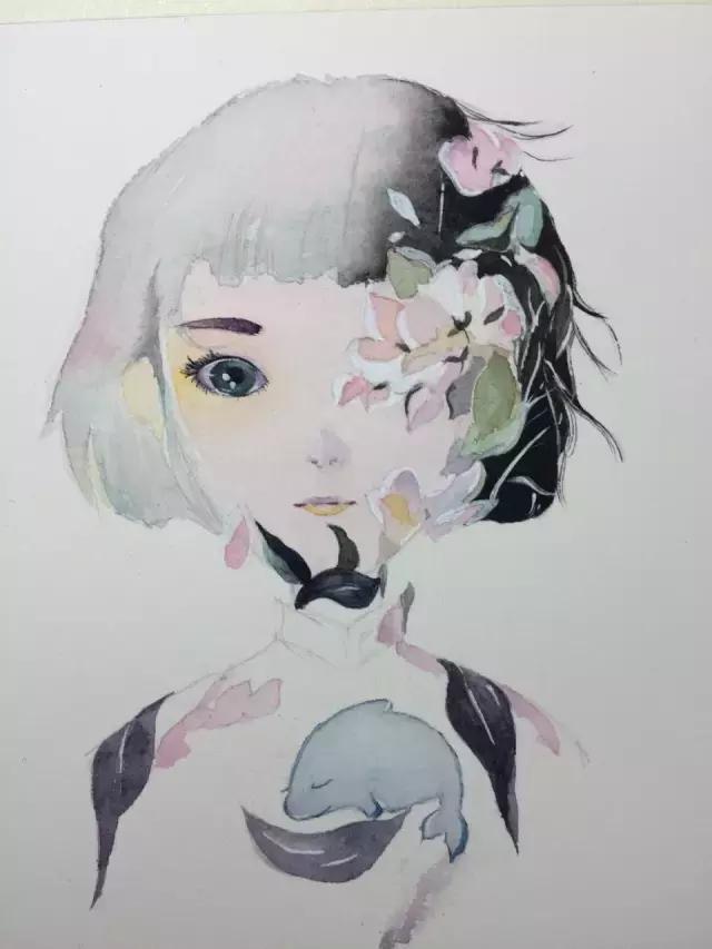 手绘人物彩铅晕色