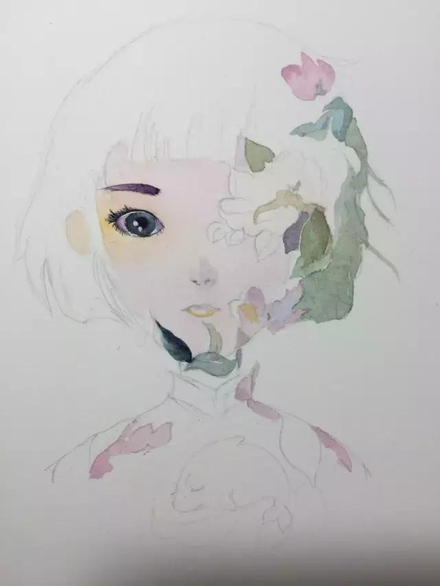 大鱼·海棠,湫去椿来,当水彩碰上彩铅图片