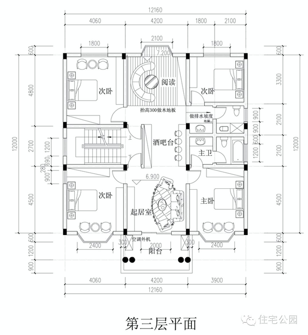 新农村自建房3层户型 12米x14米 堂屋神位平面图