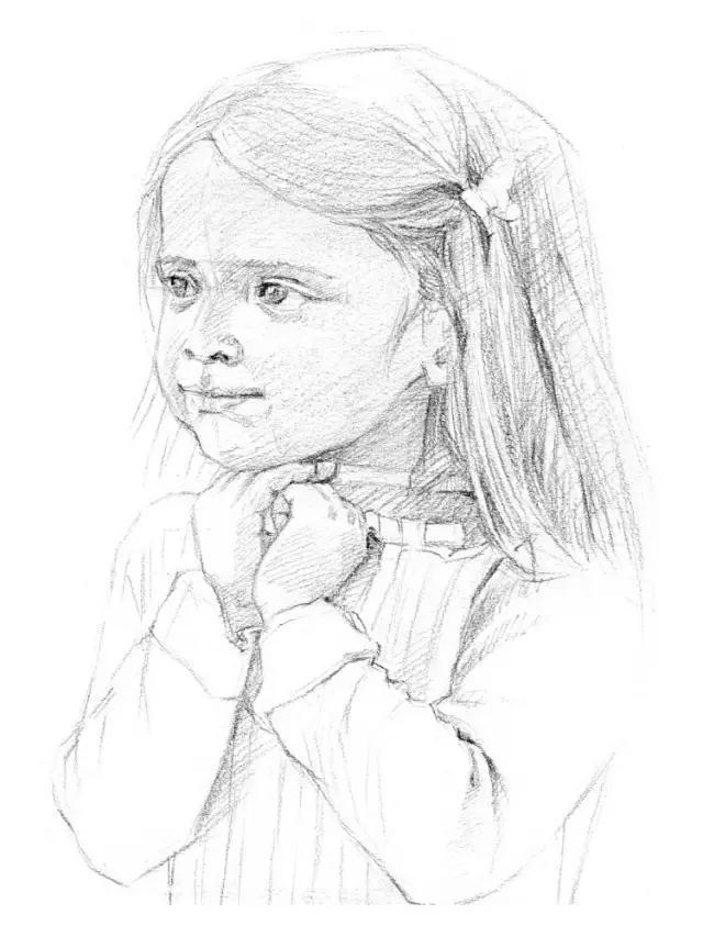 简笔画长发小女孩