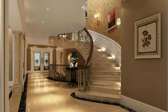 2.欧式楼梯过道灯具布置:   楼梯灯具的布置安装不仅仅只是楼梯上升部位需要进行灯具的安装,对于大户型的别墅而言,楼梯过道也是少了不灯具的装饰,如下图,楼梯过道灯具的安装是需要与整个顶部灯具设计和过道墙壁的装饰设计相搭配,采用镶嵌于吊顶内的射灯设计,不仅可以将过道墙壁的装饰效果进行突显,而且还与整个吊顶空间的灯饰设计相搭配。