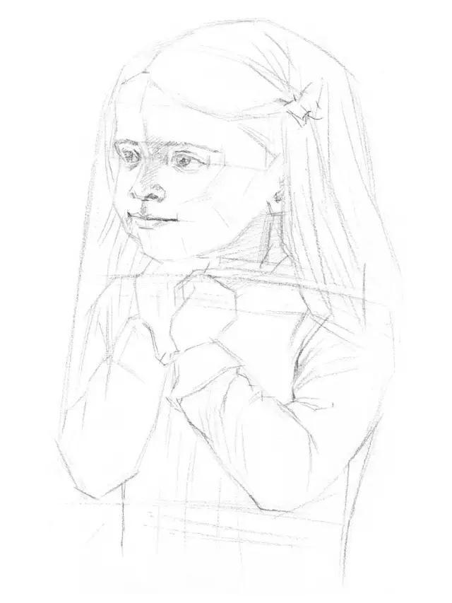 素描 小女孩长发质感的表现