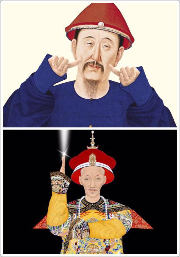 聪明的故宫也投入其中,上至皇帝王妃,下至宫女侍卫,各类形象的表情包图片