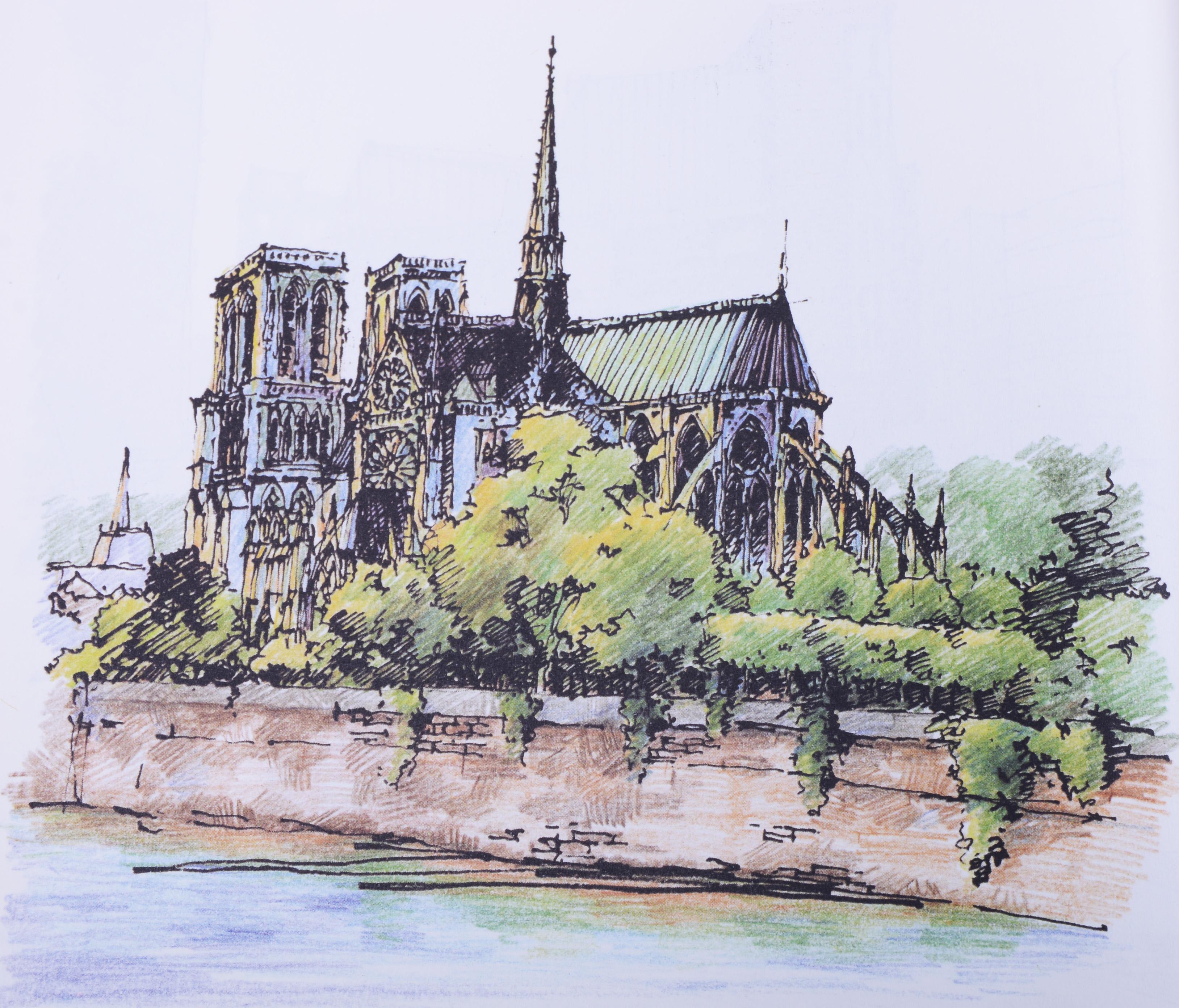 欧洲建筑手绘淡彩