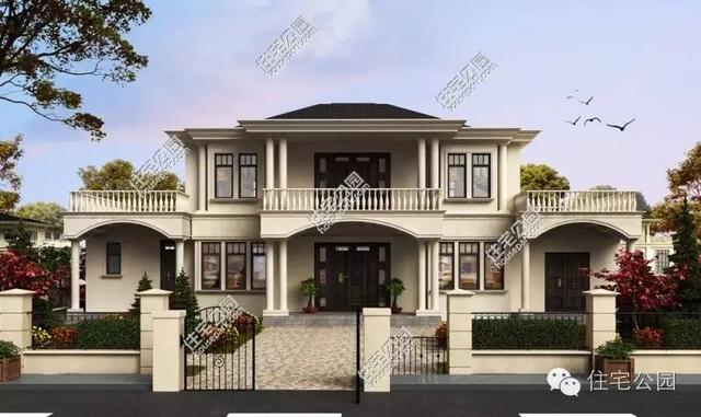 自建2层意式别墅12x21米图片