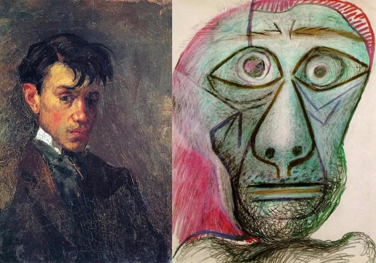 左图:毕加索15岁自画像 右图:毕加索90岁自画像