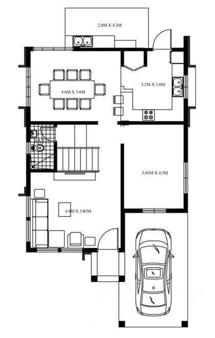 新别墅自建房8X11.8米,适合农村人的现代草图将怎样cad农村大师导入图纸图片