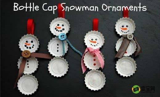 废旧瓶盖制作雪人挂件