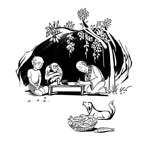全家人简笔画-在困境和希望中长大的孩子图片