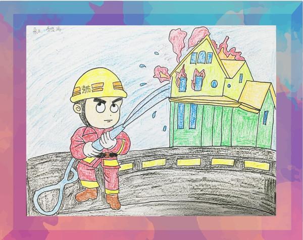 灭火器简笔画-我是小小消防员 首届儿童绘画有奖征集活动作品网络展播