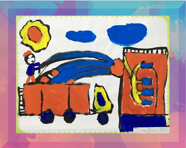 展示儿童消防绘画作品图片