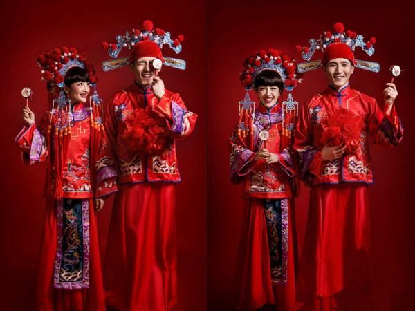 """但他们骨子里其实是很传统很有中国情结的,""""中式风格""""的婚纱照正在图片"""
