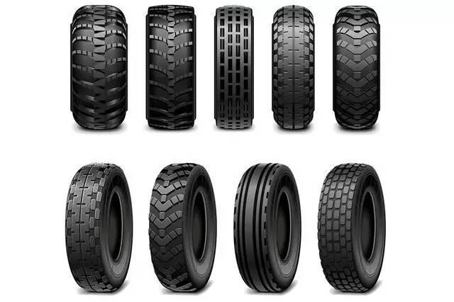 及工地车、特种车上较为常见,是超级越野的标配。一般根据使用条件的不同主要分为三种:公路轮胎、全地形轮胎与泥地轮胎。   优点:块状花纹轮胎的花纹沟槽既宽且深,轮胎花块触地面积比较小,当车辆行驶在雪地或泥泞地面时,大大增加车辆在复杂路况时的牵引力,从而有效防止车辆的打滑。因此块状花纹是性能最好的类型。   缺点:根据块状花纹的优点可知它在行驶时的摩擦力较大,易产生异常磨损,所以寿命也相对较短。      公路轮胎:简称HT轮胎。其胎面花纹细密,讲究在公路上行驶的舒适与安静,是大多数SUV出厂的标配。