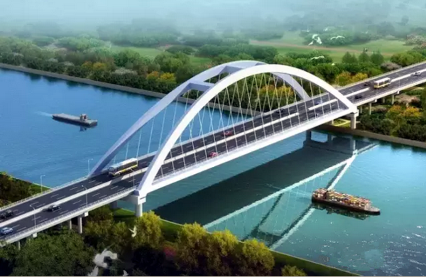 新桥采用下承式提篮拱桥,为一跨过河,其主跨跨径达164米,为苏北