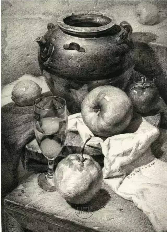 、陶罐、高脚杯素描绘画步骤-别扯了,素描静物是这样一步步画出来图片