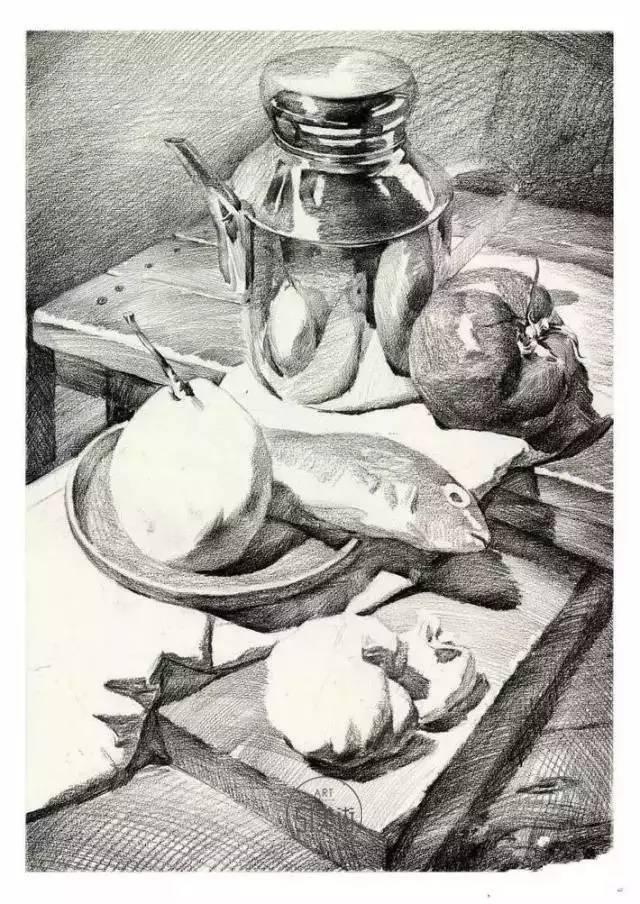 壶、透明高脚杯素描步骤-别扯了,素描静物是这样一步步画出来的图片