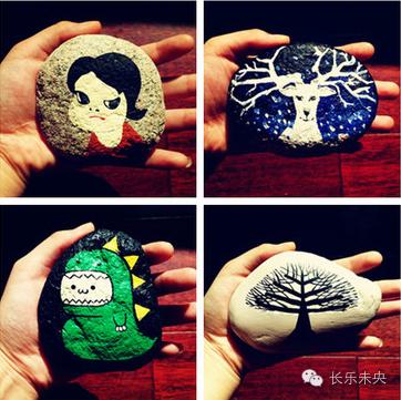 亲子diy手绘木片与石头