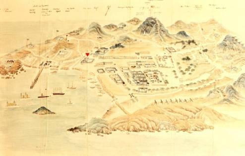 图为:1900年青岛手绘地图