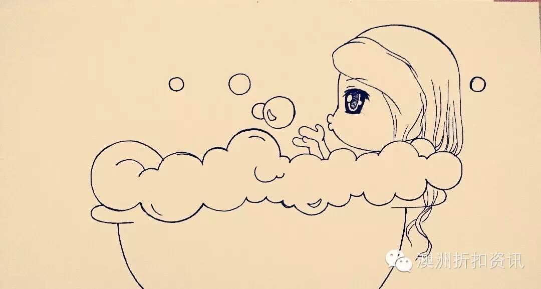 小朋友洗澡手绘