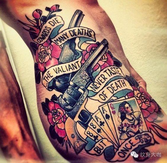 在姐心中 枪炮与玫瑰是纹身中的永恒经典之一 枪炮与玫瑰也是摇滚乐队
