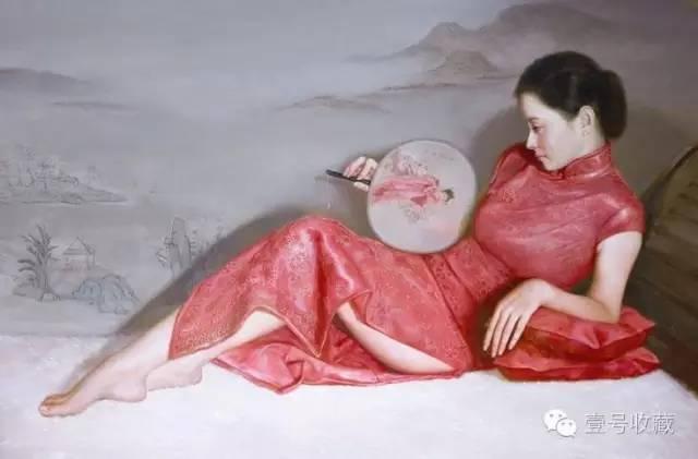 油画中的旗袍女子,风情万种图片