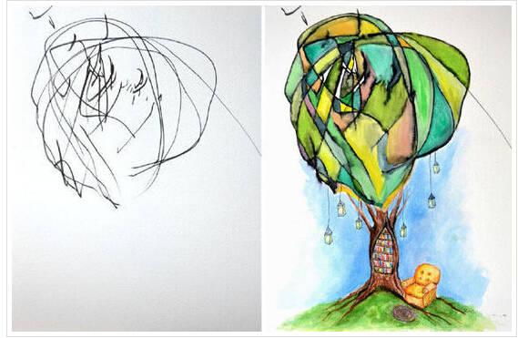 两岁潮宝乱涂鸦变成精美画作