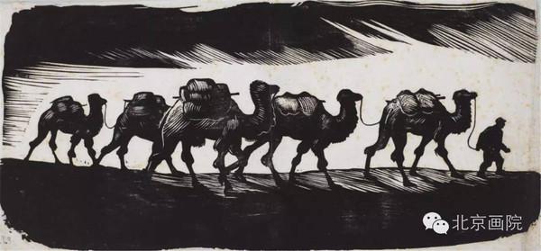 骆驼木刻版画素材