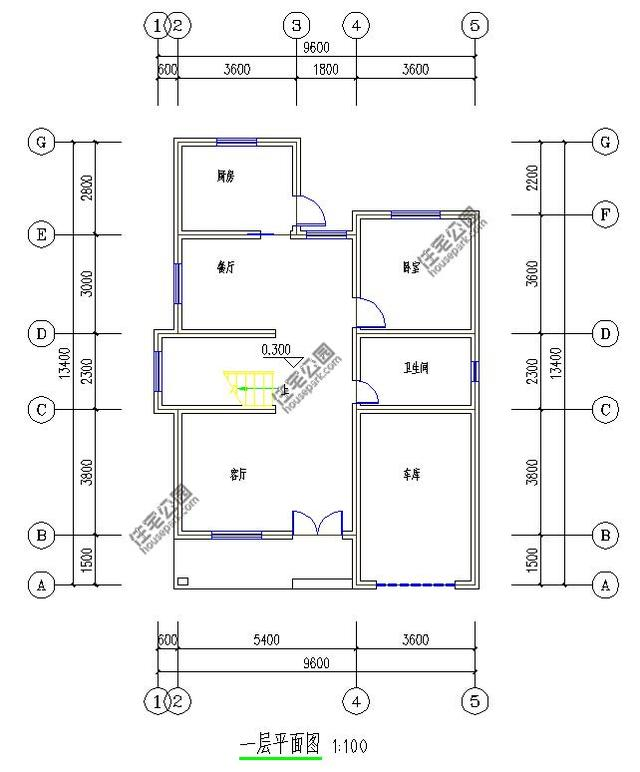 新农村3层自建房 10米面宽 带露台车库 含图纸-一层平面图:一楼厨房图片