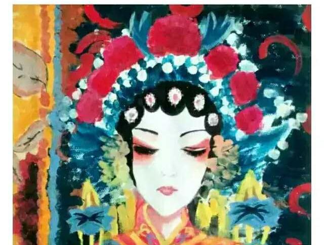 蘑菇老师点评:   孩子很成熟的表现了一个京剧人物的神态以及她头上的一些装饰物,都表现的淋漓尽致很到位。颜色搭配也相当有视觉冲击力,橘黄色和淡蓝色的搭配,有一种对比的感觉,还有白色和黑色,是一个中性色,搭配在一起使画面既美又融合,还运用了大量的头饰和衣饰,来突出主体。