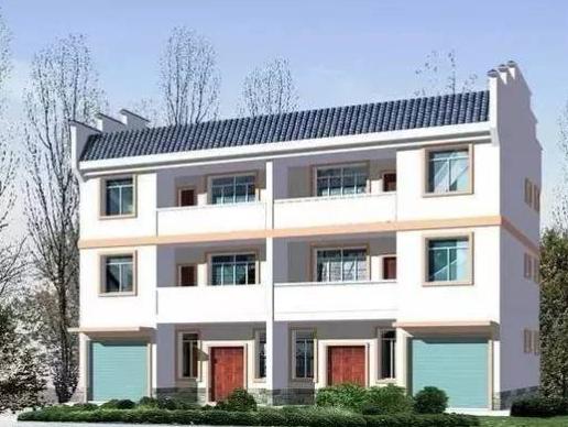 户型为两户双联式 每户占地面积:86平方米 建筑面积:232平方米 参考造价:砖混结构32.4万元,轻钢结构41.7万元。 设计思路:一楼设有厅堂,厨房,农具车库,卧室,卫生间;二至三楼各设有3间卧室和一卫生间。本户型采用平屋顶与坡屋顶相结合,外观造型简洁大方,色彩明快,房间尺度设计适宜,空间利用率高。
