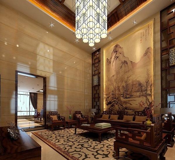中式风格别墅装修是以宫廷建筑为代表的中国古典建筑的室内装饰设计图片