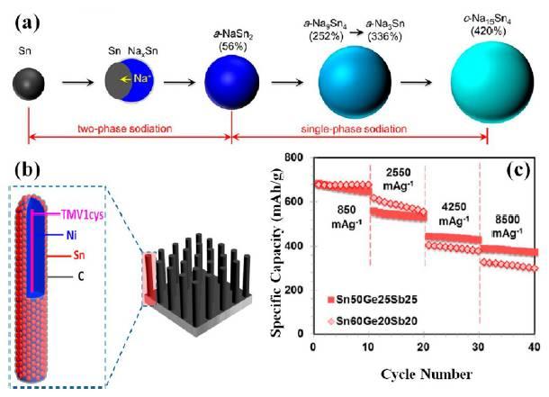 图片来源见参考文献   磷负极也是钠离子电池负极的一个候选者,磷与Na可以形成Na3P结构,理论比容量达到2600mAh/g,当P与炭黑按照7:3的比例混合时,可以等到性能优良的复合材料,比容量达到2000mAh/g以上,并具有良好的循环性能和倍率性能。   除了上述的钠离子电池负极,其他的一些金属氧化物也是一种良好的负极材料,例如TiO2材料,由于其性能好,资源丰富,且成本低因此是一种十分具有潜力的钠离子电池负极材料。例如TiO2/C复合材料,具有十分优良的倍率性能,在36C的超大倍率下,仍然具有