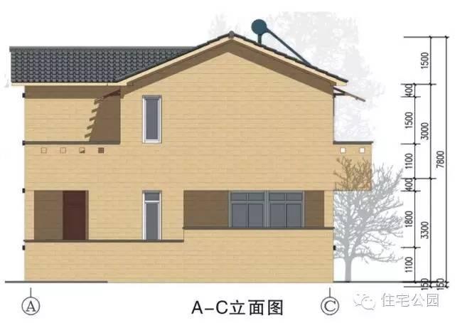 新农村自建房8X10米 可独栋双拼带车位 效果图平面图片