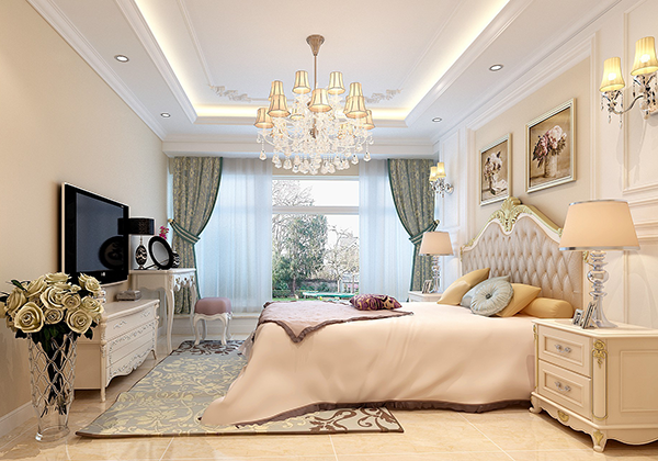 三,法式风格卧室效果图赏析——米色奢华典雅法式风格卧室