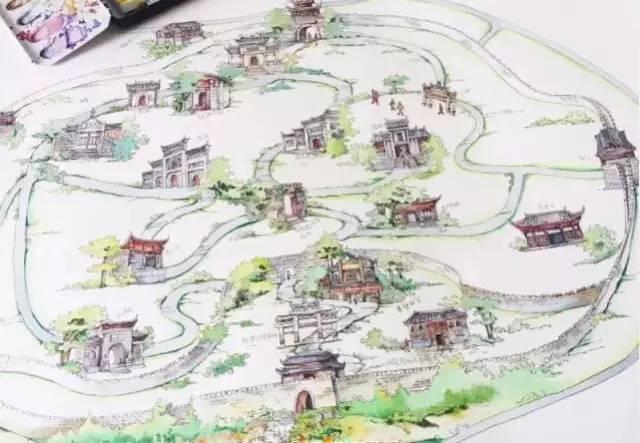 一条贵州省旅游手绘地图在微博上