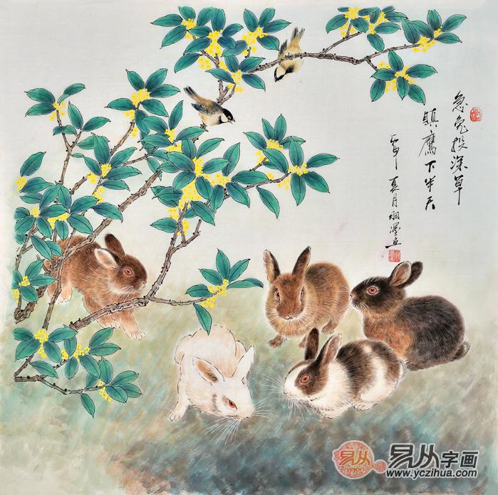 羽墨的这幅国画兔子《急兔深投草,瞋鹰下半天》画面简单清新、雅俗