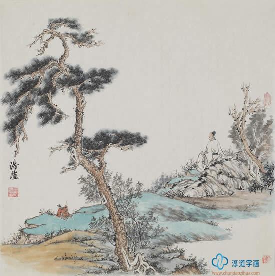 王浩沣四尺斗方写意山水画 松山观江图