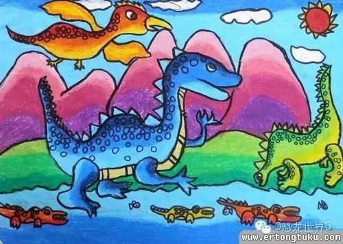恐龙与孩子手绘画