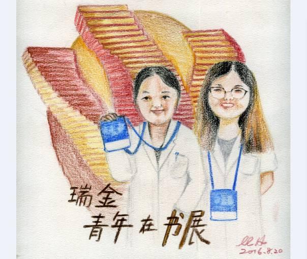 赟赟大才女手绘彩铅画《青年在书展 》