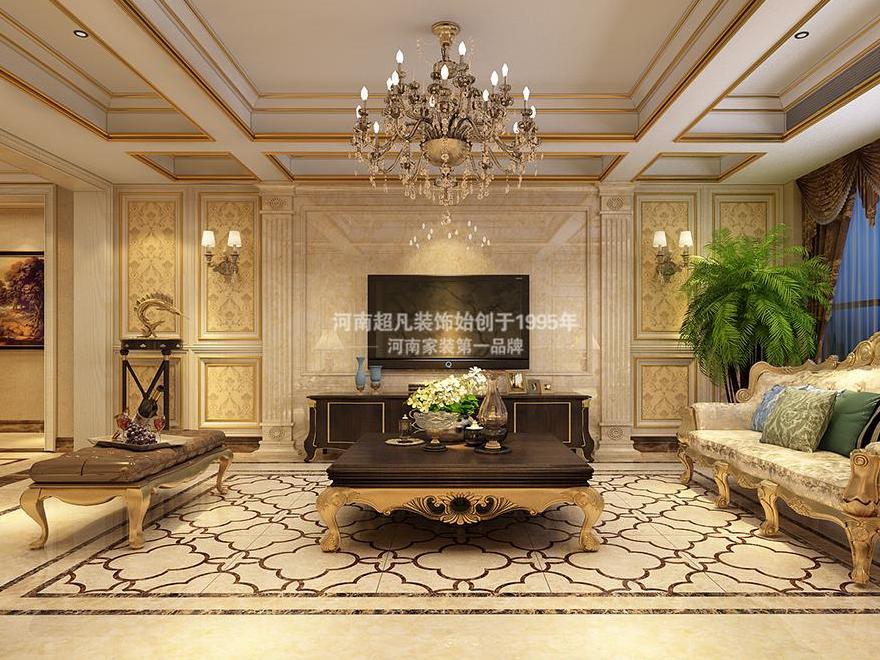 郑州国瑞城160平欧式风格装修设计案列效果图