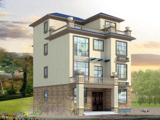 自建9x12米4层复式挑空别墅!