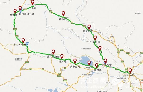 旅游 正文  导读:从地图上看,这是一条环形路线,从兰州出发,经青海湖图片