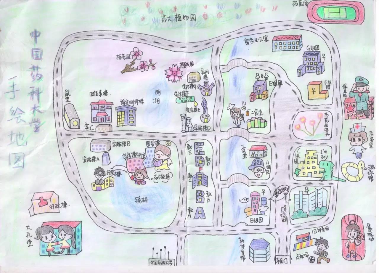 呈上一幅药大版手绘地图