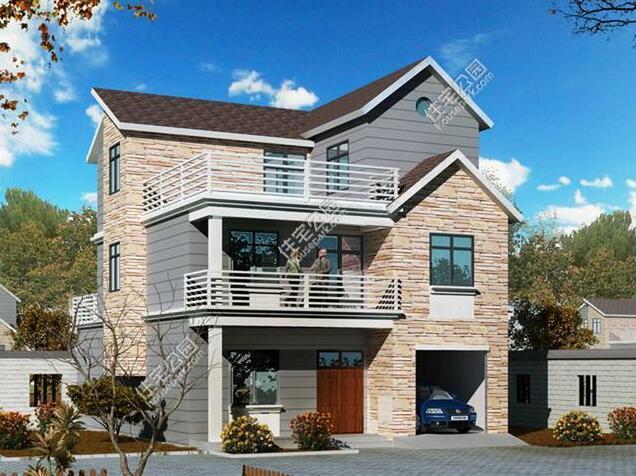 面宽小也建漂亮别墅,9.6x13.4米带别墅大露台哪里月亮湾在车库中山图片
