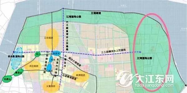未来5年 大江东将规划建设50平方公里的 沿海湿地公园 ,且 杭州最大
