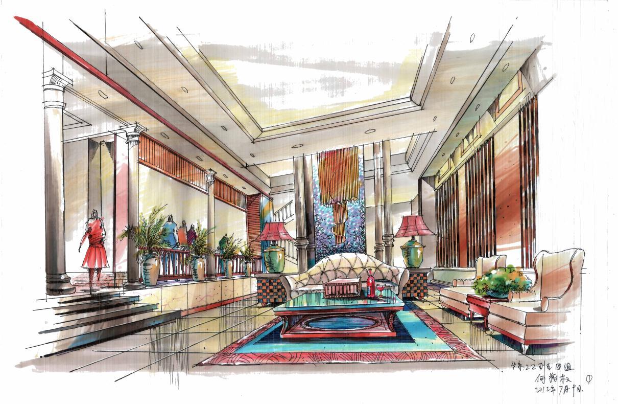 掌握室内手绘效果图的各种表现手法(如:现代